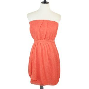 Express Coral Strapless Chiffon Dress 10